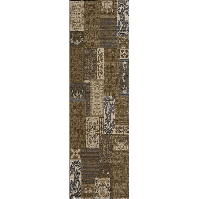 Dream Power-loomed Damask Brown Rug (2'3 x 7'6)