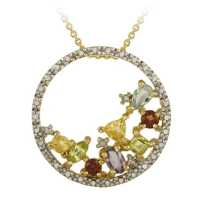 Glitzy Rocks 18k Gold over Silver Multi-gemstone Cluster Necklace