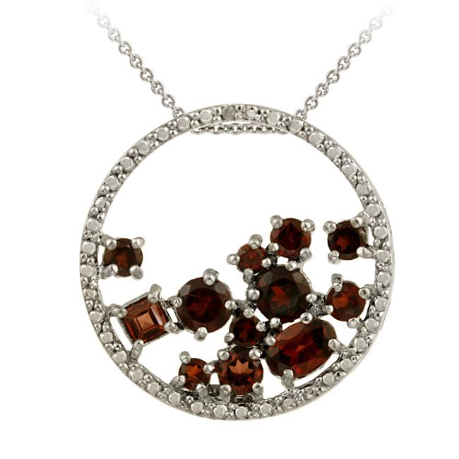 Glitzy Rocks Sterling Silver Garnet and Diamond Accent 'Glitzy Rocks' Necklace