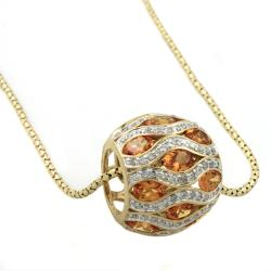 Beverly Hills Charm 14k Yellow Gold Garnet and 1/3ct TDW Diamond Necklace
