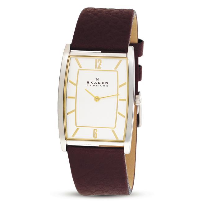 Skagen Men's Textured Brown Leather Band Watch
