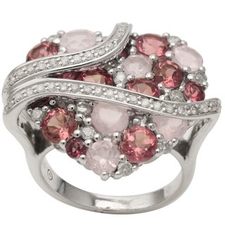 Beverly Hills Charm Silver Multi-gemstone and 3/4ct TDW Diamond Heart Ring