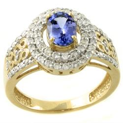 Beverly Hills Charm 14k Yellow Gold Tanzanite and 1/2ct TDW Diamond Ring
