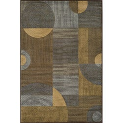 Illusion Power-loomed Blue Rug (5'3x7'6)
