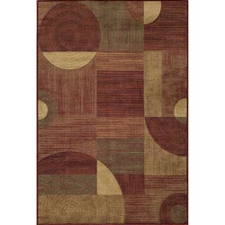 Illusion Power-loomed Red Rug (5'3 x 7'6)