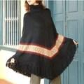 Alpaca Wool 'Casual Black' Poncho (Peru)