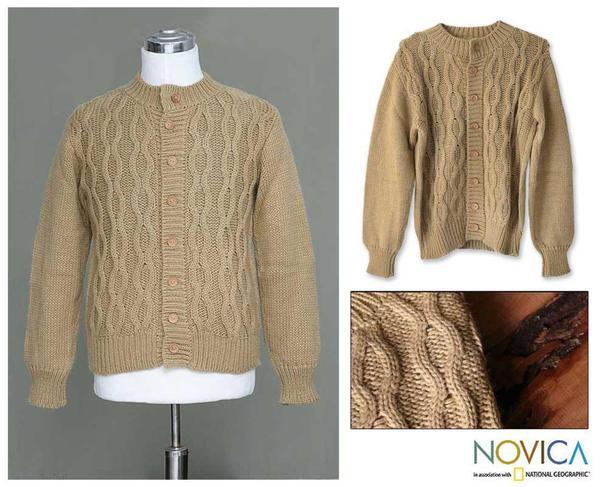 Alpaca Wool Men's 'Camel Sands' Cardigan Sweater (Peru)