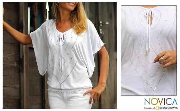 Rayon 'White Butterfly' Blouse (Indonesia)