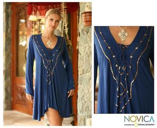 Rayon 'Exotic Blue' Tunic Blouse (Indonesia)