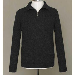 Alpaca Wool Men's 'Casual Gray' Quarter-zip Sweater (Peru)