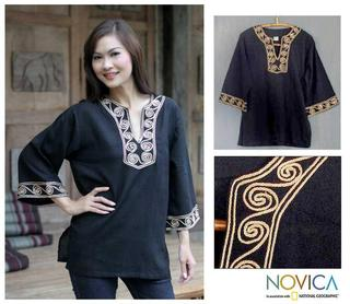 Cotton 'Cosmopolitan Night' Blouse (Thailand)