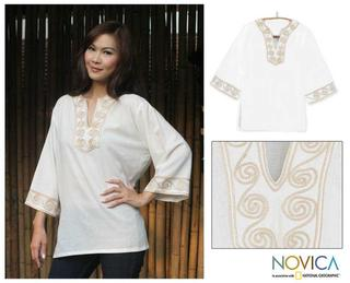 Cotton 'Cosmopolitan Cloud' Blouse (Thailand)