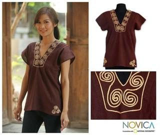 Cotton 'Mahogany Melody' Blouse (Thailand)