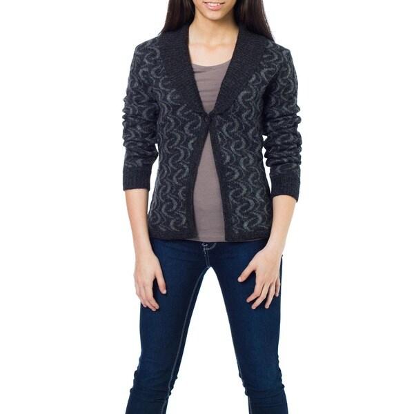 Alpaca Wool 'Evening Shadows' Cardigan Sweater (Peru)