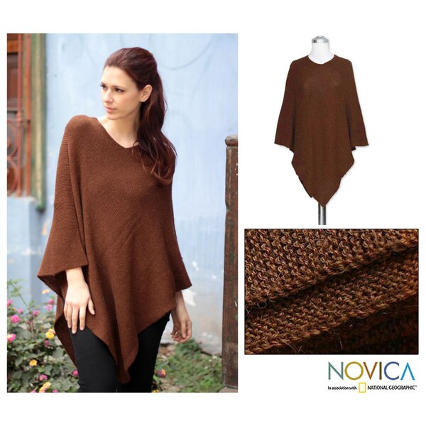 Alpaca Wool 'Splendid Earth' Poncho (Peru)