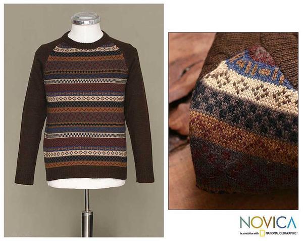 Alpaca Wool Men's 'Horizon' Crewneck Sweater (Peru)
