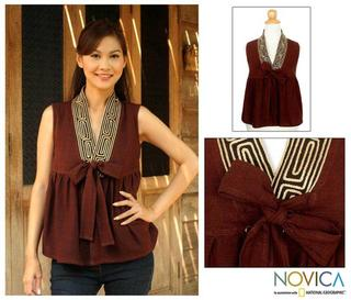 Cotton 'Relax In Brown' Blouse (Thailand)