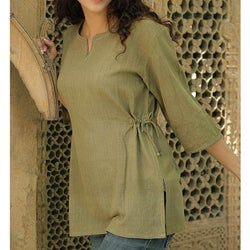 Cotton 'Olive Flirt' Tunic (India)