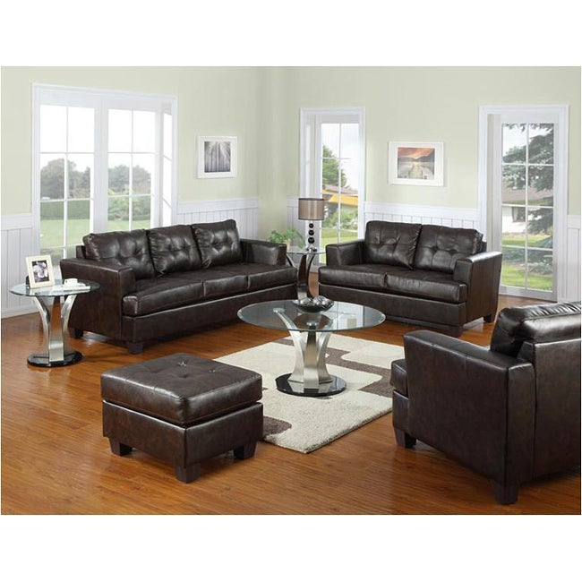 Style brown bonded leather lounge couch loveseat living room sofa