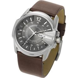 Diesel Men's Stainless Steel-case Silver-dial Brown-leather-strap Watch
