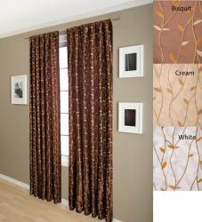 Autumn 84-inch Faux Silk Taffeta Lined Curtain Panel