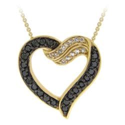 Glitzy Rocks 18k Gold over Silver Topaz and 1/5ct TDW Black Diamond Heart Necklace