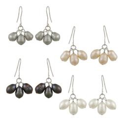 Glitzy Rocks Silver Multi-colored Freshwater Pearl Earrings (Set of 4) (8-9 mm)