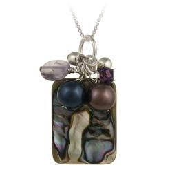 Glitzy Rocks Sterling Silver Abalone, Amethyst and Crystal Necklace