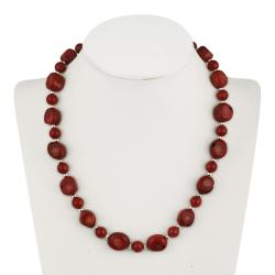 Glitzy Rocks Sterling Silver Sea Bamboo Coral Necklace