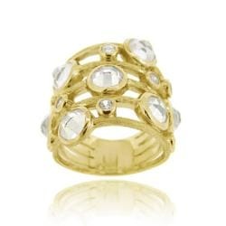 Icz Stonez 18k Gold over Sterling Silver Cubic Zirconia 5-row Ring
