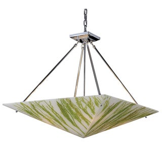 Green Sawgrass and Polished Chrome 4-light Chandelier