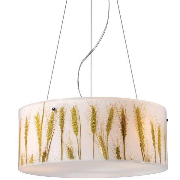 Wheat Polished Chrome 3-light Pendant