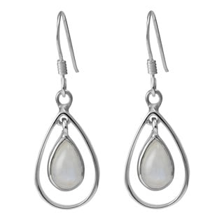 Sterling Silver Hoops Pear Moonstone Earrings (Thailand)