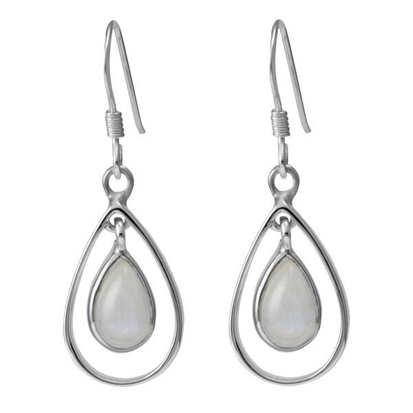 Sterling Silver Hoops Pear Moonstone Earrings (Thailand)
