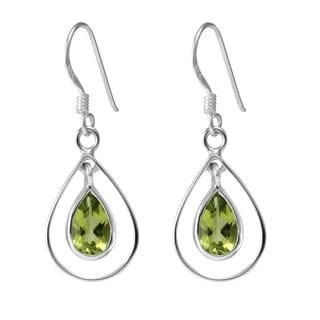 Sterling Silver Hoops Pear Peridot Earrings (Thailand)