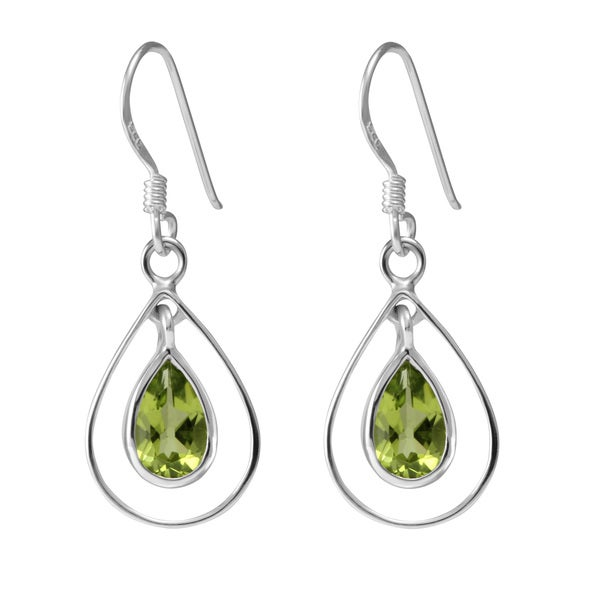 Sterling Silver Hoops Pear Peridot Earrings (Thailand)