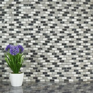 SomerTile 12x11.5-inch Griselda Subway 0.625x1.5-inch Charcoal Natural Stone Mosaic Tiles (Pack of 10)
