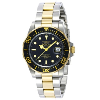 Invicta Men's Pro Diver Q 23k Gold-plating Two-tone Black Dial Watch