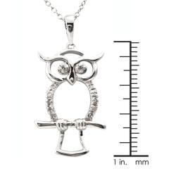 Sterling Silver 1/10ct TDW Diamond Owl Critter Necklace (J-K, I3)
