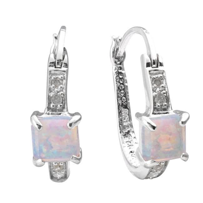 Sterling Silver Created Opal and 1/10ct TDW Diamond U-hoop Earrings (J-K, I3)