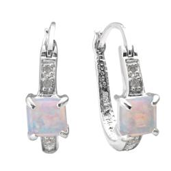 Sterling Silver Created Opal and 1/10ct TDW Diamond U-hoop Earrings (J-K, I3)