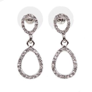 NEXTE Jewelry Silvertone Rhinestone Double Oval-style Earrings