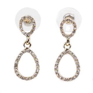 NEXTE Jewelry 14k Gold Overlay Rhinestone Double Oval-style Earrings