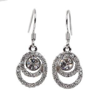 NEXTE Jewelry Silvertone Rhinestone Swirl-style Swank Earrings