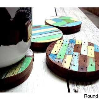 Set of 4 Recycled Wood Beach Hut Coasters (Thailand)