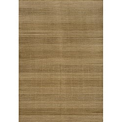 Illusion Power-loomed Stripe Beige Rug (3'11 x 5'7)