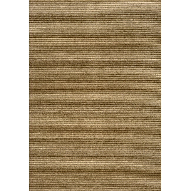Illusion Power Loomed Stripe Beige Rug 7 10 X 9 10