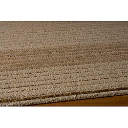 Illusion Power-loomed Stripe Beige Rug (7'10 x 9'10)