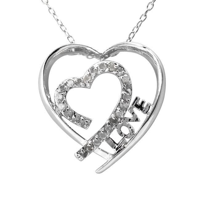 Sterling silver 1 4ct tdw diamond 39 love 39 heart necklace j for L love jewelry reviews