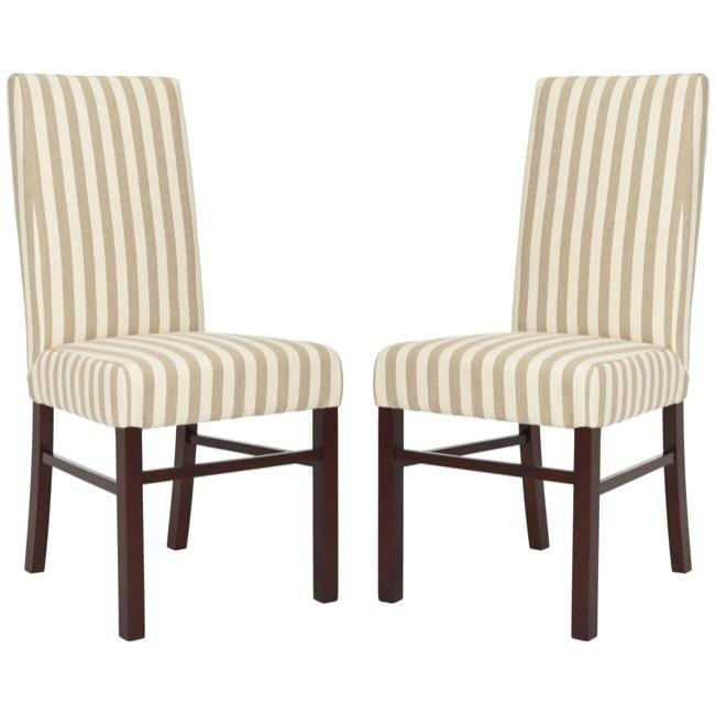 Safavieh Parsons Dining Parsons Stripe Linen Side Chairs (Pack of 2)